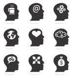Silueta principal de pensamiento Imagenes de archivo
