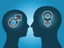 Silueta principal del hombre y de la mujer con símbolos del género stock de ilustración