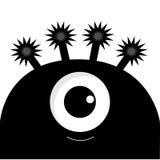 Silueta principal del monstruo con un ojo Personaje de dibujos animados lindo divertido del color negro Colección del bebé Tarjet Fotos de archivo