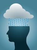 Silueta principal deprimida con la nube de lluvia oscura Foto de archivo
