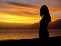 Silueta, puesta del sol, Isla Mauricio Fotografía de archivo libre de regalías