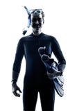 Silueta que bucea de Snorkelers del hombre aislada Foto de archivo