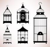 Silueta retra de la vendimia del birdcage de la jaula de pájaro Fotos de archivo