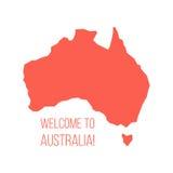 Silueta roja de Australia con la inscripción Fotos de archivo libres de regalías