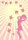 Silueta romántica de la muchacha Stock de ilustración