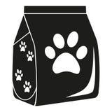 Silueta seca blanco y negro del bolso de la comida para gatos Foto de archivo libre de regalías