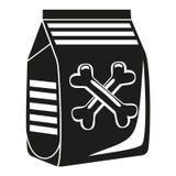 Silueta seca blanco y negro del bolso de la comida de perro Fotografía de archivo libre de regalías