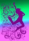 Silueta urbana del bailarín stock de ilustración