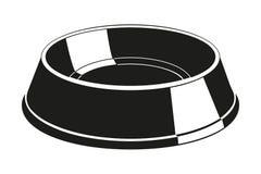 Silueta vacía blanco y negro del cuenco del alimento para animales Fotos de archivo libres de regalías
