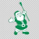 Silueta verde de la Navidad de Santa Claus con el personal ilustración del vector