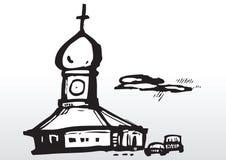 silueta vieja de la iglesia stock de ilustración