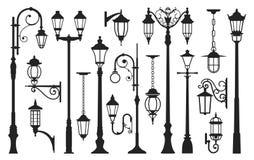 Silueta vieja del negro de lámpara de calle, vintage de la ciudad Fotografía de archivo libre de regalías