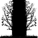 Silueta vieja, estación del árbol stock de ilustración
