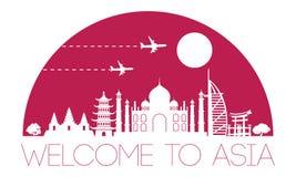 Silueta y bóveda famosas superiores de la señal de Asia con la pocilga rosada del color ilustración del vector