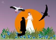 Silueta y cigüeñas de los pares de la boda Foto de archivo libre de regalías
