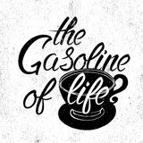 silueta y frase de la taza de café Imagen de archivo libre de regalías