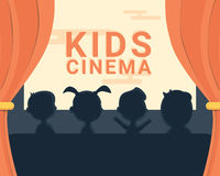 Silueta y texto blancos y negros del cine de los niños Imagenes de archivo