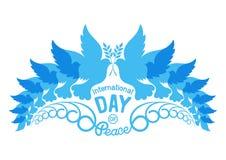 Siluetas abstractas de palomas con brunch verde oliva Ejemplo del día internacional de la paz, el 21 de septiembre Imagenes de archivo