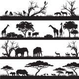 Siluetas africanas de la naturaleza