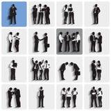 Siluetas aisladas de los hombres de negocios del trabajo Foto de archivo libre de regalías