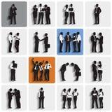 Siluetas aisladas de los hombres de negocios del trabajo Fotografía de archivo libre de regalías