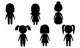 Siluetas aisladas de muchachas en un fondo blanco Figuras del vector de la gente etiquetas engomadas para las paredes El juguete  ilustración del vector