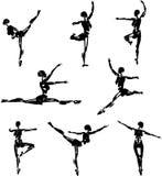 Siluetas androides del ballet ilustración del vector