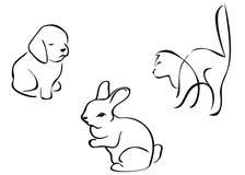 Siluetas animales Imagenes de archivo