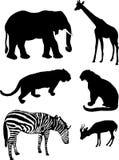 Siluetas animales africanas stock de ilustración