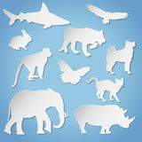 Siluetas animales de papel Fotografía de archivo