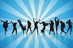 Siluetas atractivas de los bailarines Imagen de archivo