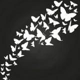 Siluetas blancas de las mariposas en la pizarra stock de ilustración
