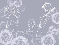 Siluetas blancas del trío del jazz en el fondo gris del grunge con t imágenes de archivo libres de regalías