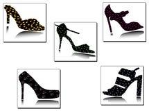 Siluetas clásicas de los zapatos con deta geométrico Imagenes de archivo
