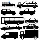 Siluetas clasificadas del vehículo Imagenes de archivo