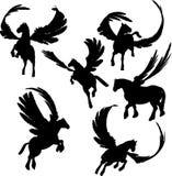 Siluetas coas alas del caballo Imágenes de archivo libres de regalías