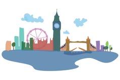 Siluetas coloreadas de Londres y de sus vistas Ejemplo del vector de una ciudad europea stock de ilustración