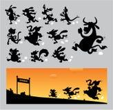 Siluetas corrientes de la historieta Imágenes de archivo libres de regalías