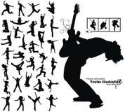Siluetas corrientes de salto de baile de la gente Imagen de archivo libre de regalías