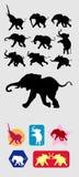 Siluetas corrientes del elefante Fotografía de archivo