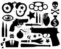 Siluetas criminales Imagen de archivo libre de regalías