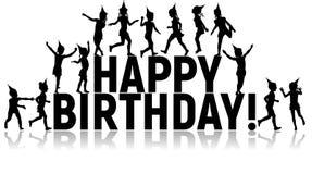 Siluetas cumpleaños de los niños de las letras del feliz Foto de archivo