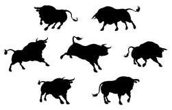 Siluetas de alta calidad de Bull Imagenes de archivo