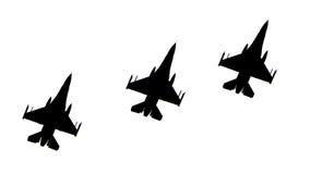 Siluetas de aviones de combate fotos de archivo