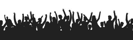 Siluetas de baile de la muchedumbre de la gente Contorno de la sombra de la etapa de la demostración del baile de la audiencia de libre illustration