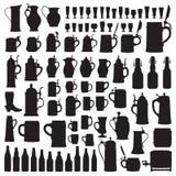 Siluetas de Beerware Imagenes de archivo