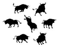 Siluetas de Bull Fotos de archivo libres de regalías