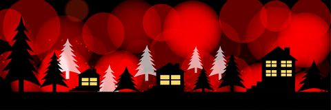 Siluetas de casas en un fondo festivo brillante Ejemplo panorámico stock de ilustración