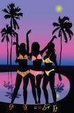Siluetas de chicas jóvenes en la playa Imagen de archivo libre de regalías