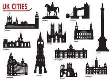 Siluetas de ciudades en el Reino Unido Fotografía de archivo libre de regalías
